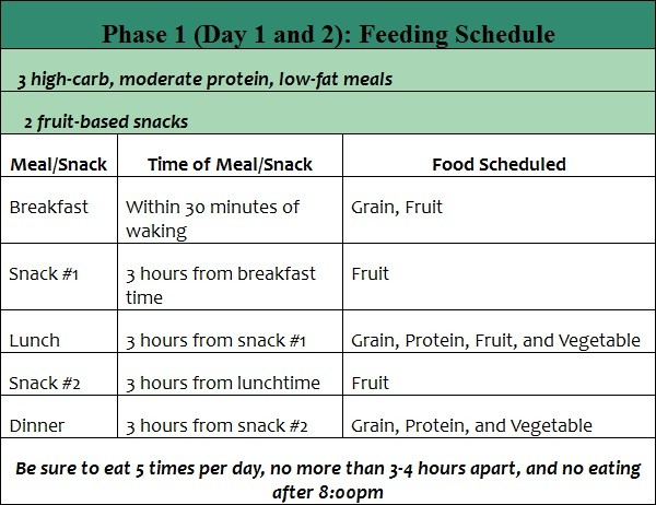 phase 1 the fast metabolism diet feeding schedule